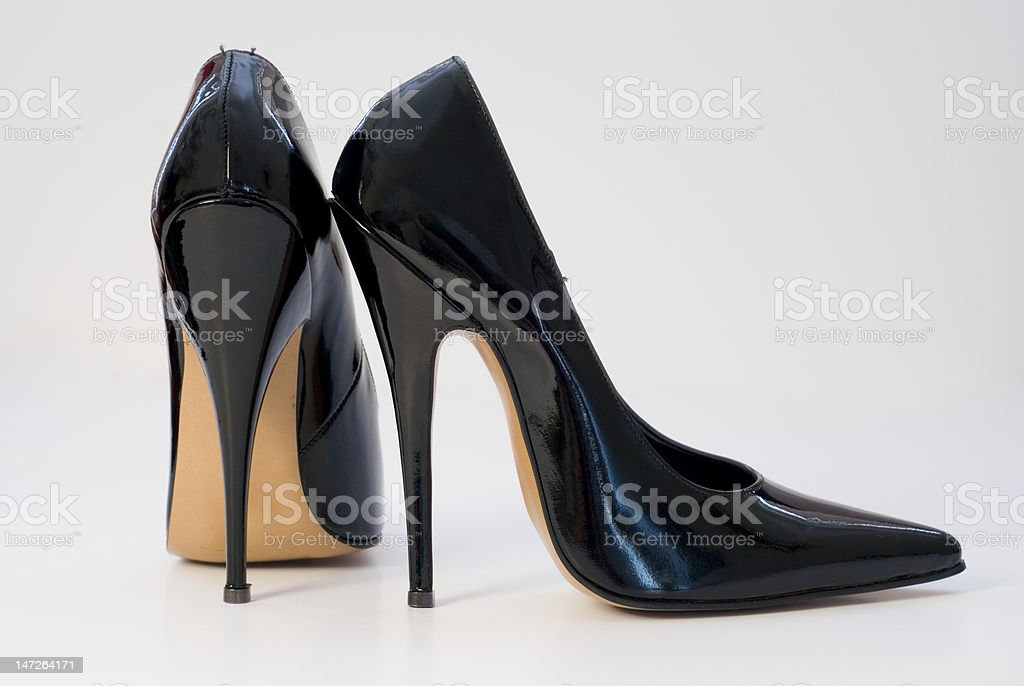 Patent Black High Heels stock photo