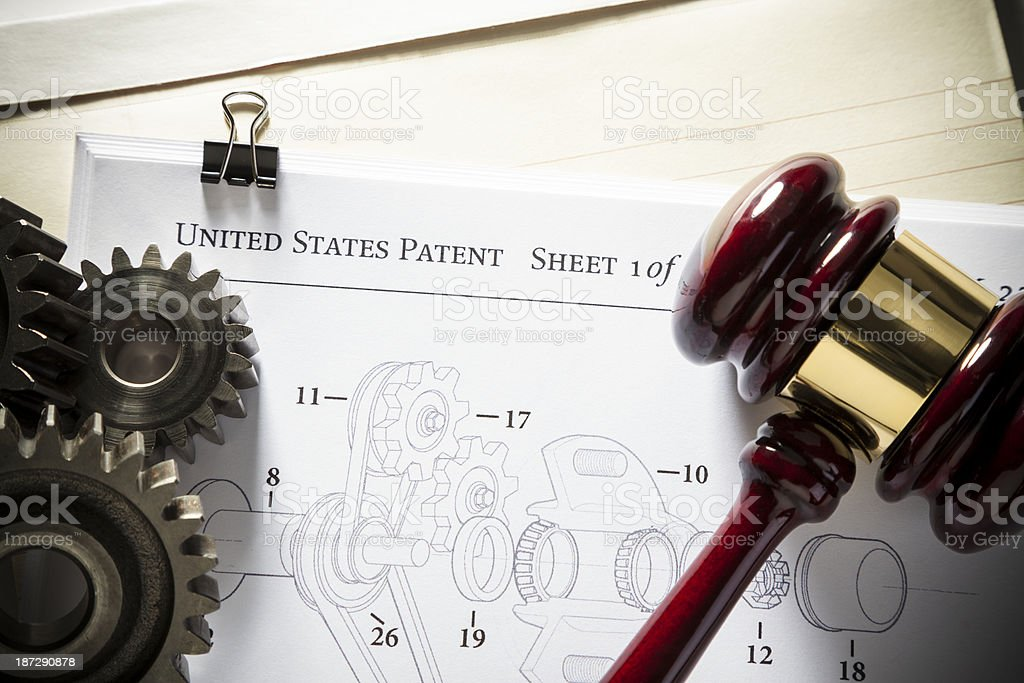 Patent Law - Mechanical stock photo