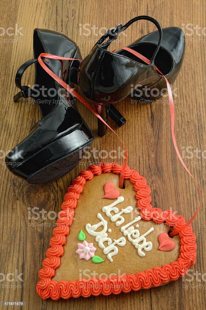 patent leather high heel with i love you gingerbread heart royalty-free stock photo