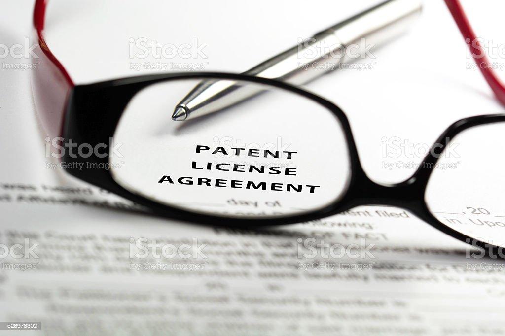 Patent license agreement stock photo