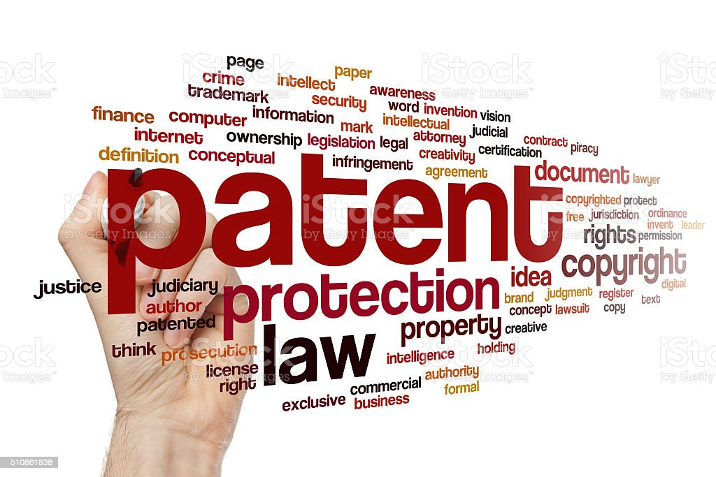 Patent word cloud concept stock photo