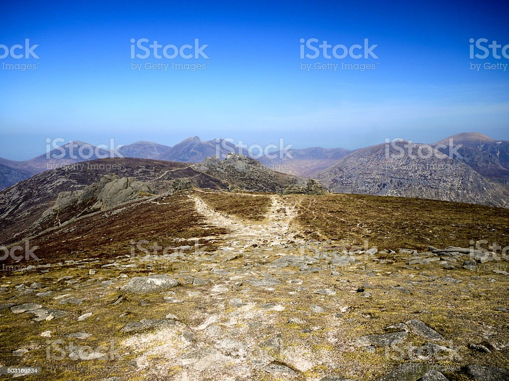 Path across a Mountain Plain in the Mourne Mountains stock photo