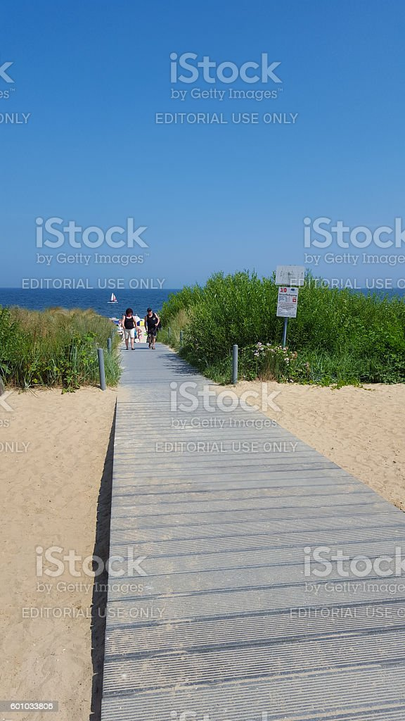 path across the dunes at baltic sea stock photo