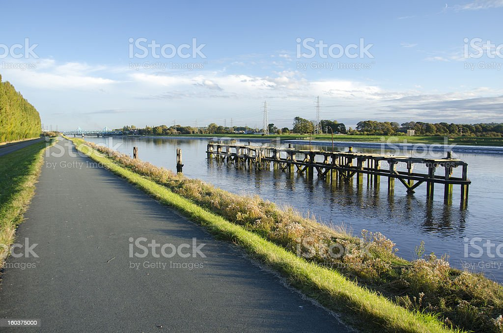 Path Along River Dee Near Queensferry in North Wales royalty-free stock photo