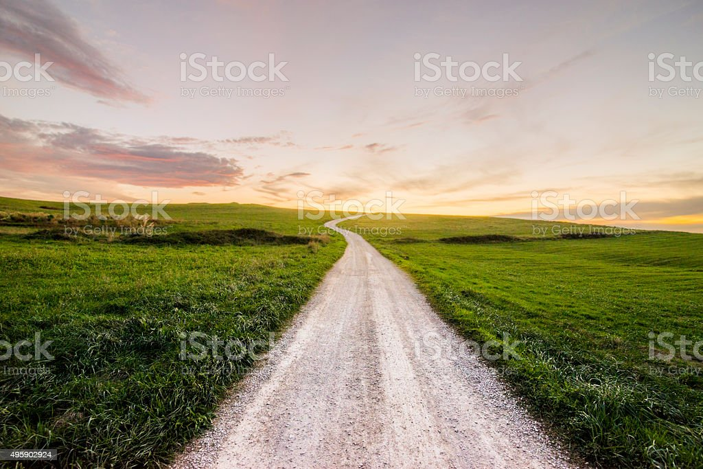 Path at sunset stock photo