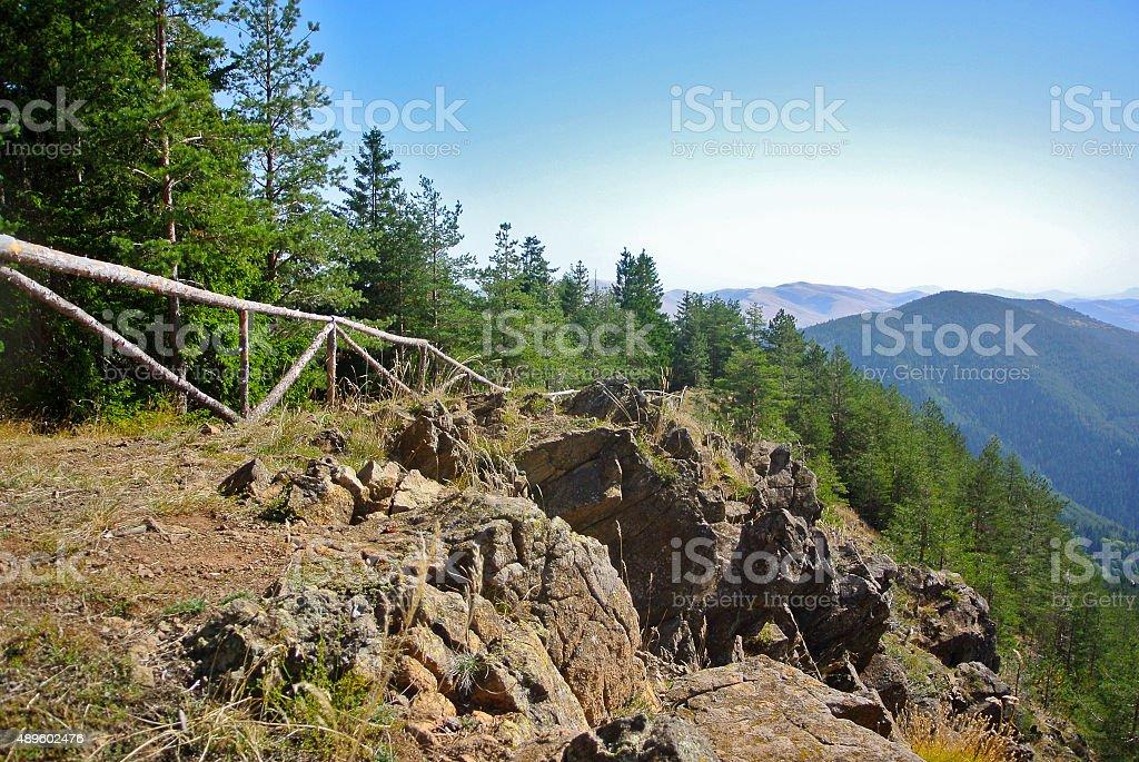 Path down the mountain stock photo