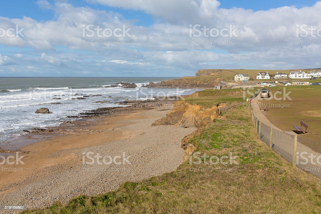 Path from Bude North Cornwall to nearby beach of Crooklets stock photo