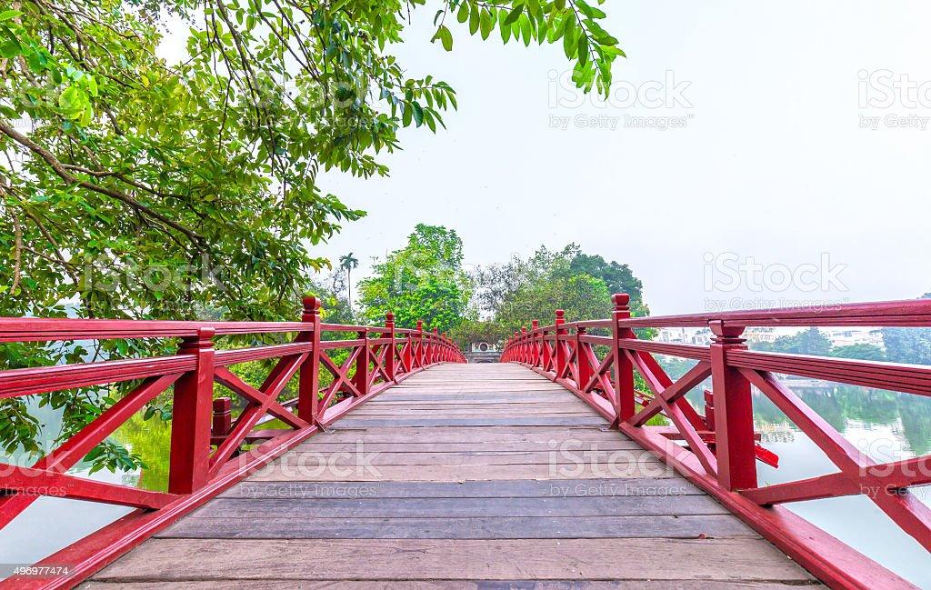 Path Huc bridge spanning Ngoc Son Temple, Hanoi, Vietnam stock photo