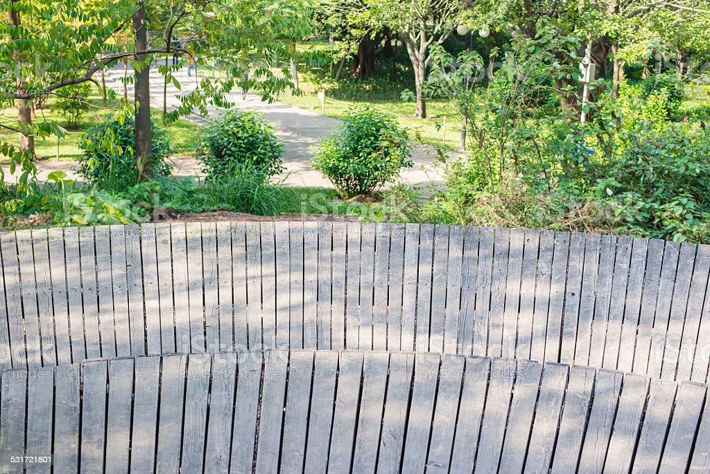 path in a park with facula on wood floor stock photo