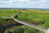 Path in Naturreservat Hornborgasjöns in Sweden at summertime, Scandinavia