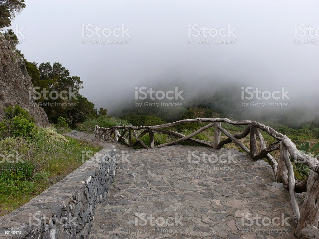Path in the Misty Mountains royalty-free stock photo