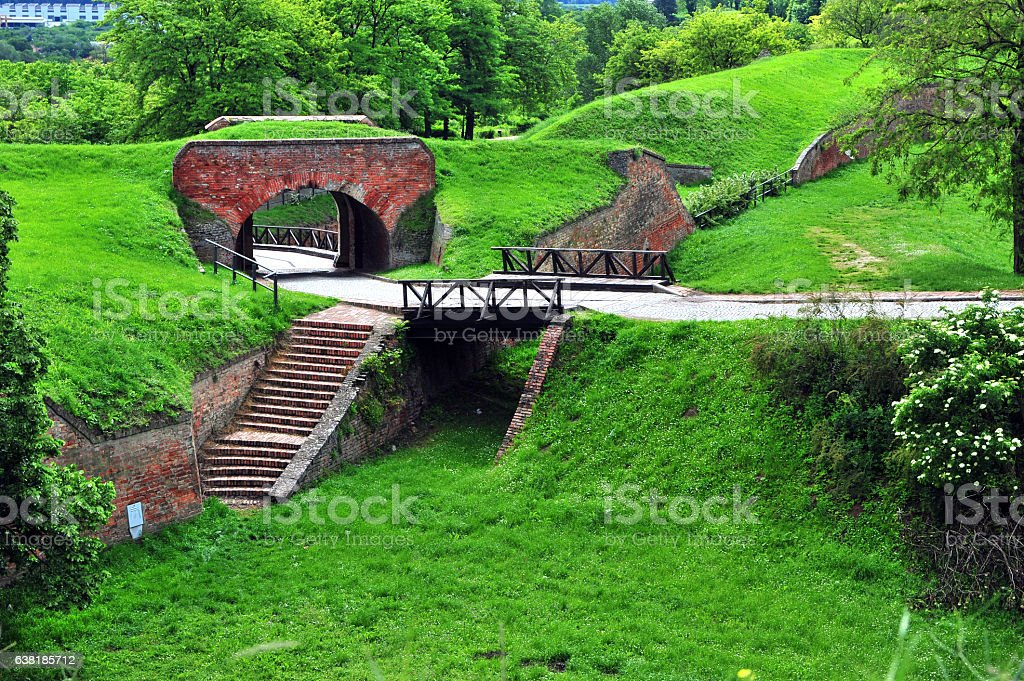 Path in the summer park of Petrovaradin stock photo
