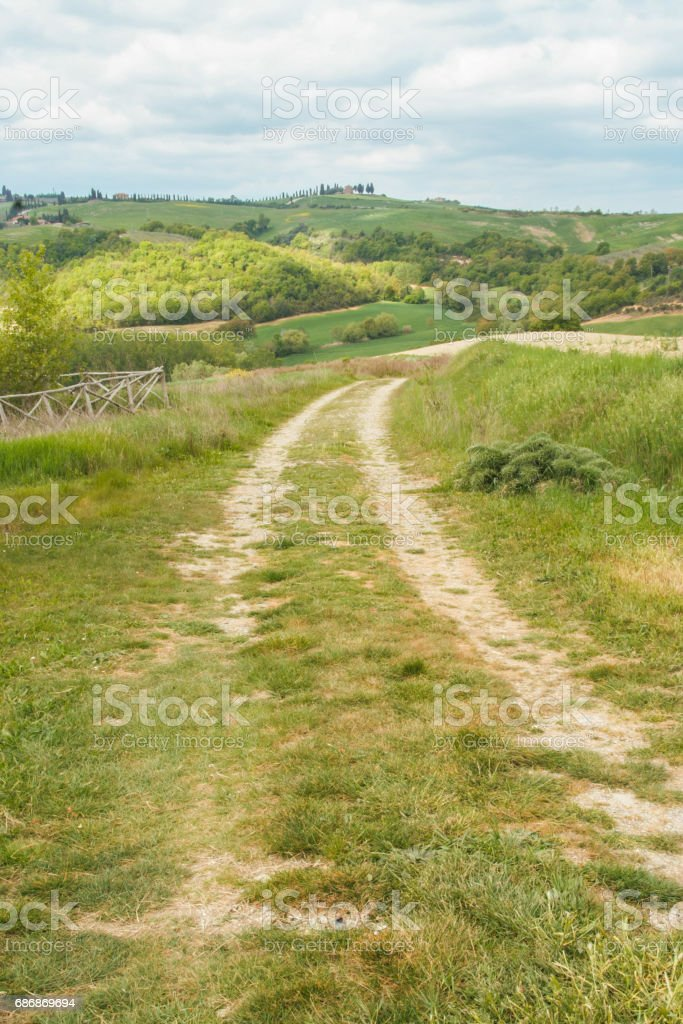 path in Val d'Orcia stock photo
