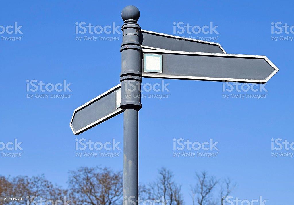 Path indicator sign stock photo