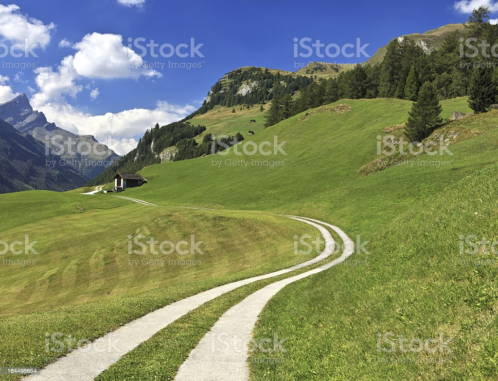 Path leading to alpine hut in Splugen, Switzerland stock photo