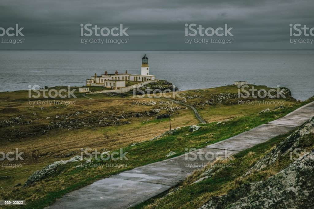 Path leading to Neist Point Lighthouse stock photo