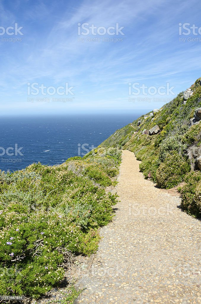 Path Leading to the Lower Cape Point Lighthouse stock photo