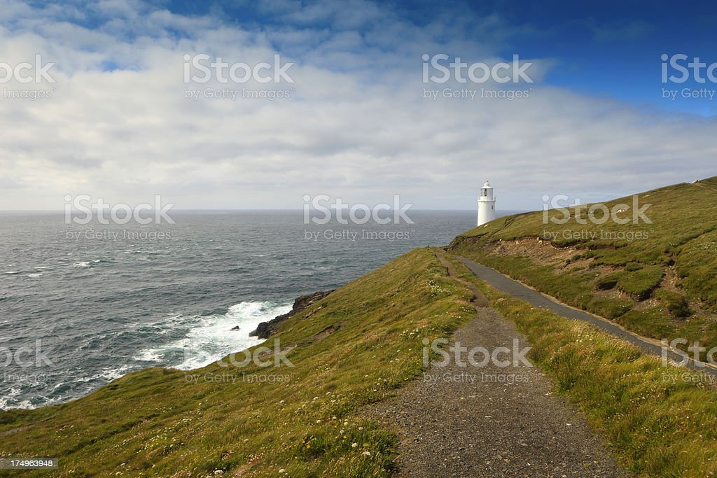 path leading to Trevose Head Lighthouse stock photo