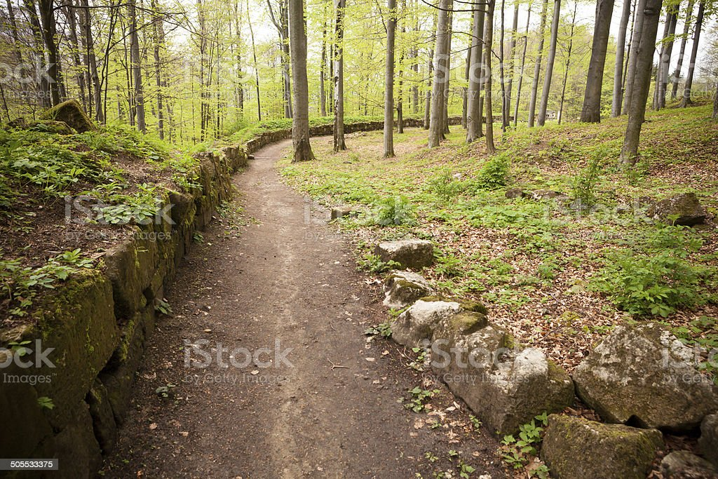 Path near an ancient fortress wall stock photo