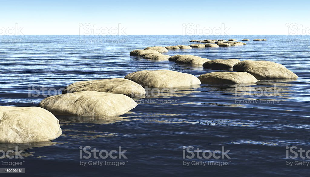 path of stones on the water stock photo