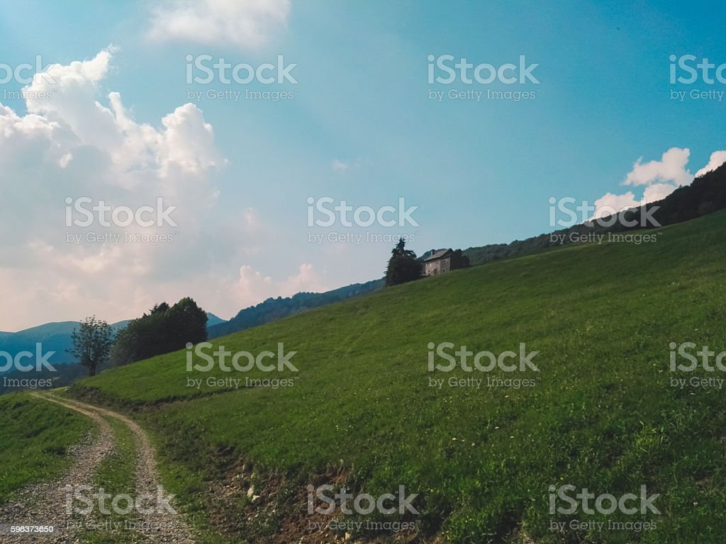 Path on the side of a hill stock photo