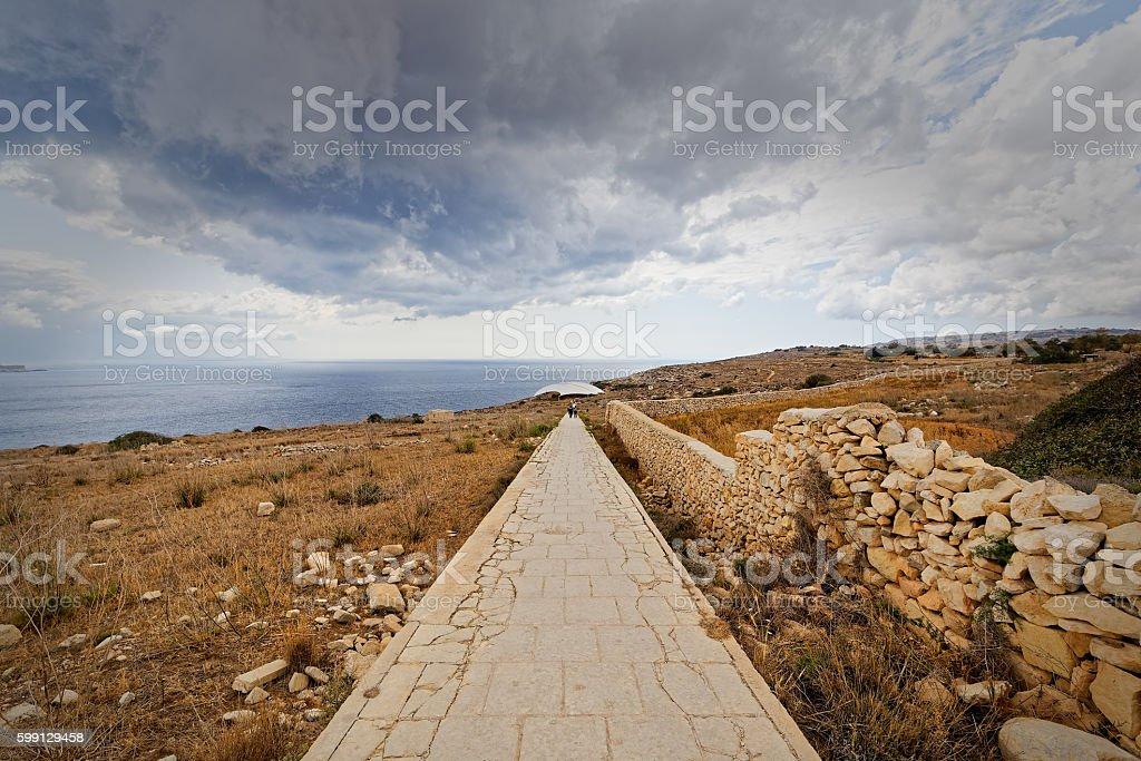 Path temples of Mnajdra and Hagar Qim (Malta) stock photo