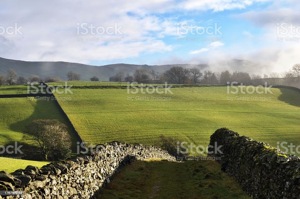 Path through Dry-stone walls, Staveley royalty-free stock photo
