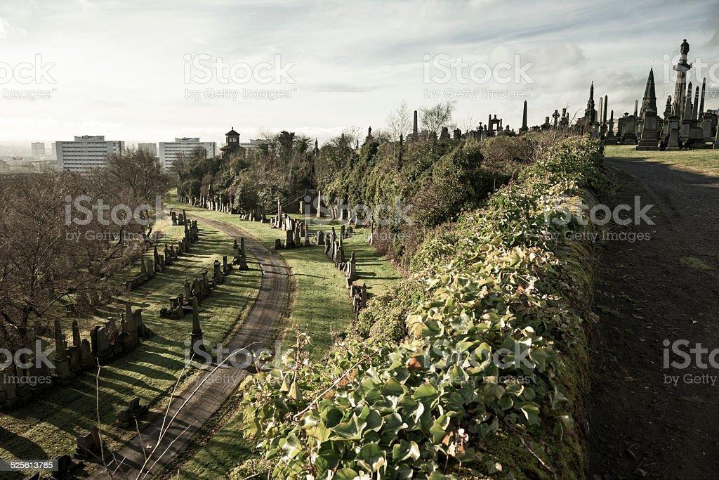 Path through Glasgow Necropolis stock photo
