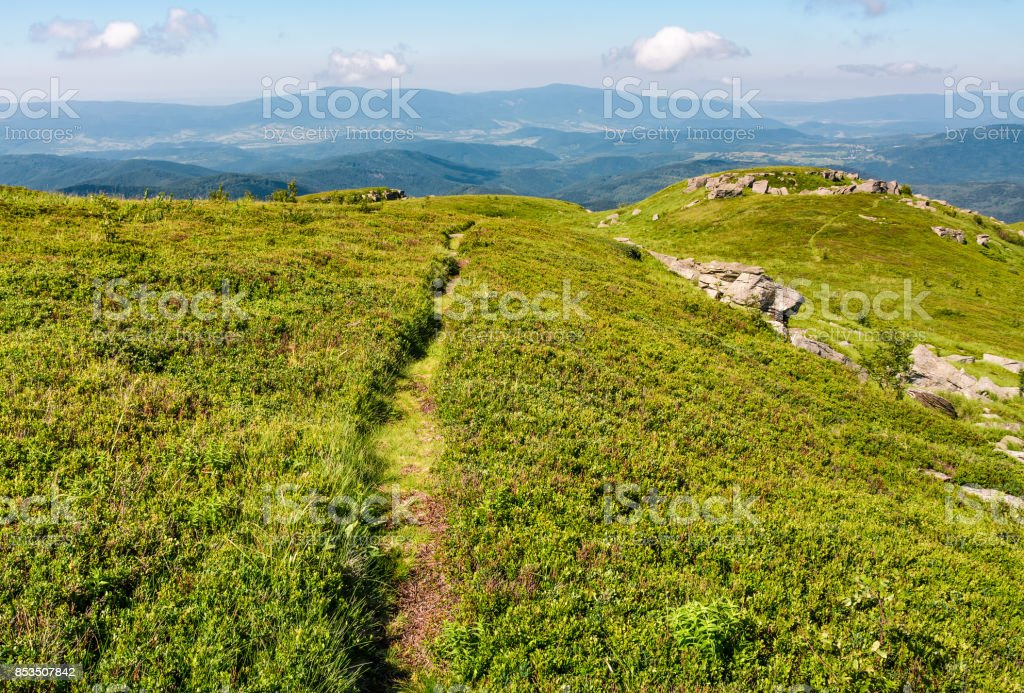 path through grassy meadow to huge boulders stock photo