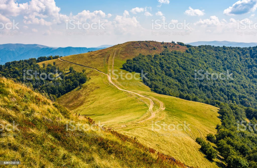 path through grassy meadows on mountain ridge stock photo