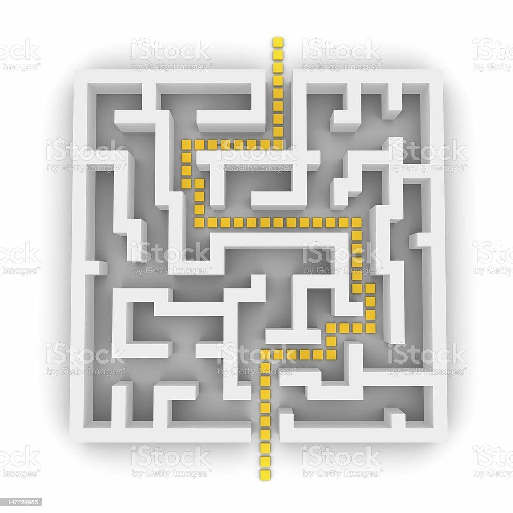 Path through labyrinth 3d royalty-free stock photo