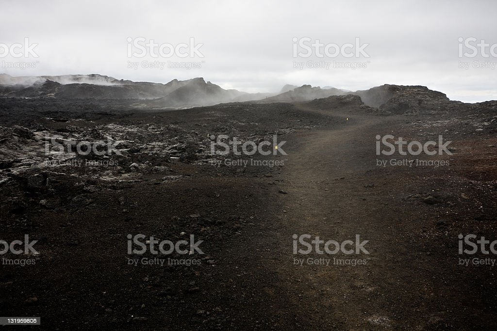 Path Through Steaming Lava Fields In Iceland royalty-free stock photo