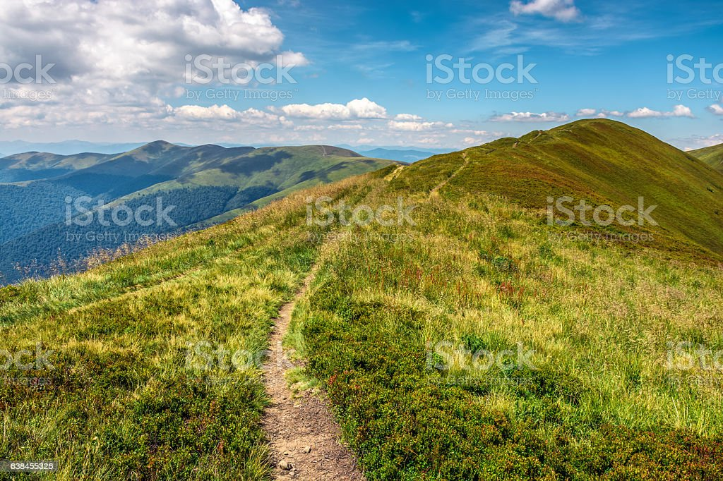 path through the mountain ridge stock photo