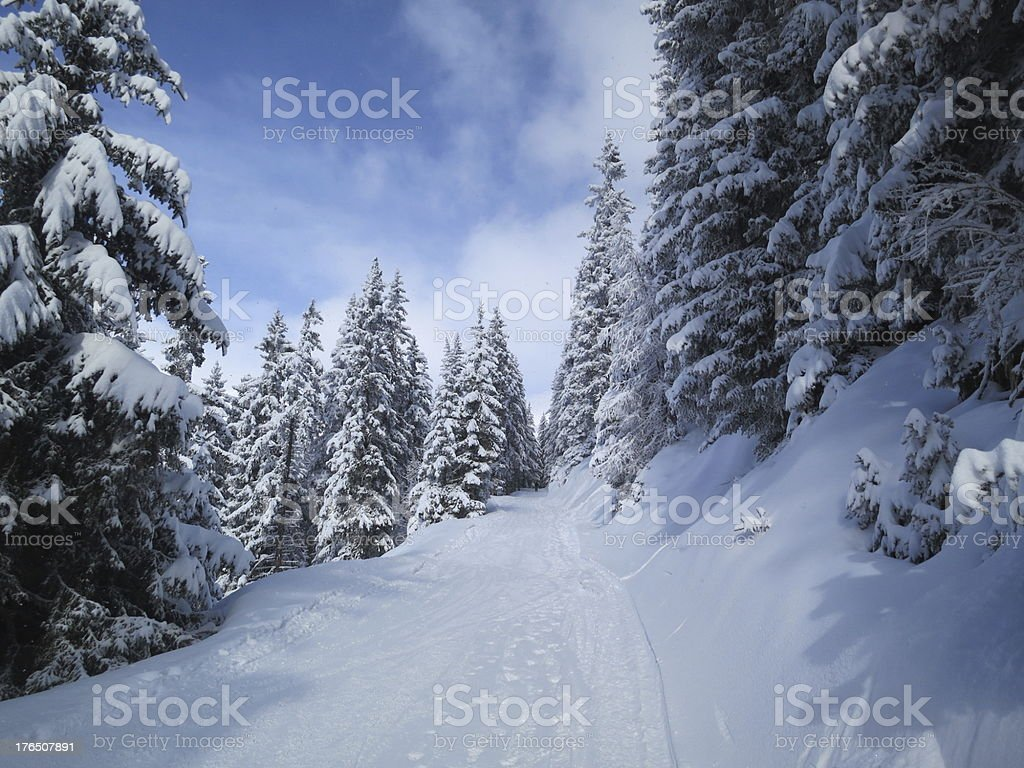 Path through the snow, Verbier, Switzerland royalty-free stock photo