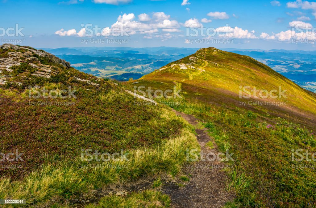 path through the top of mountain ridge stock photo