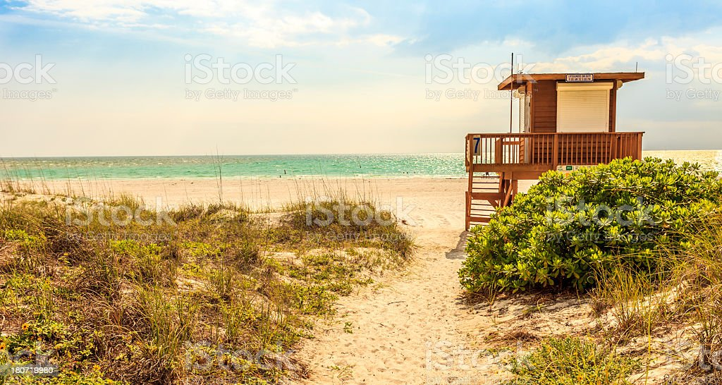 Path to Beach with Lifeguard Hut - Golden Vintage Colors stock photo
