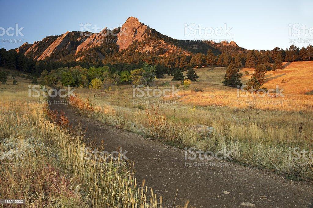 Path to Boulder Colorado Flatirons stock photo
