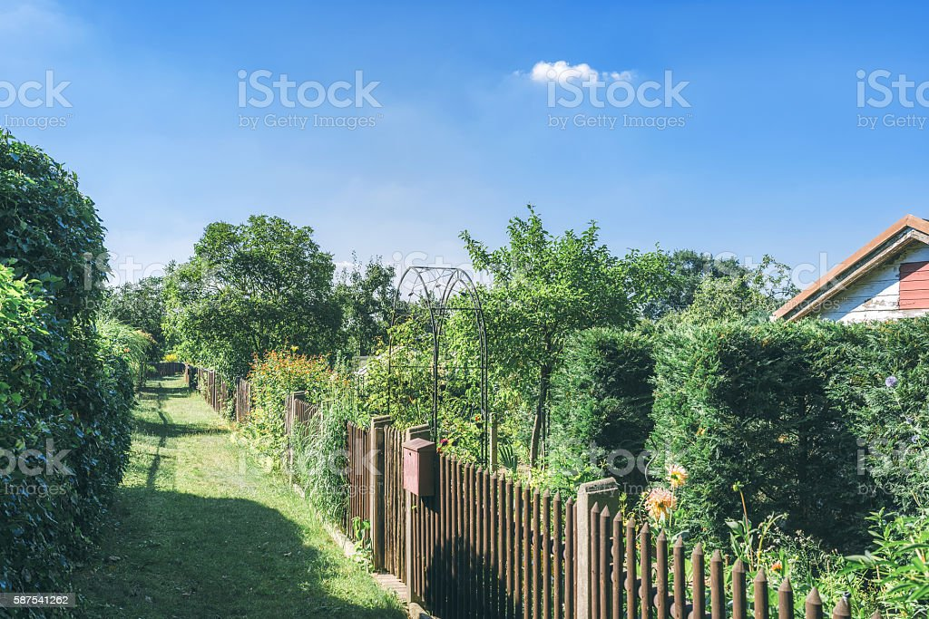 Path to gardens in Potsdam, Germany stock photo
