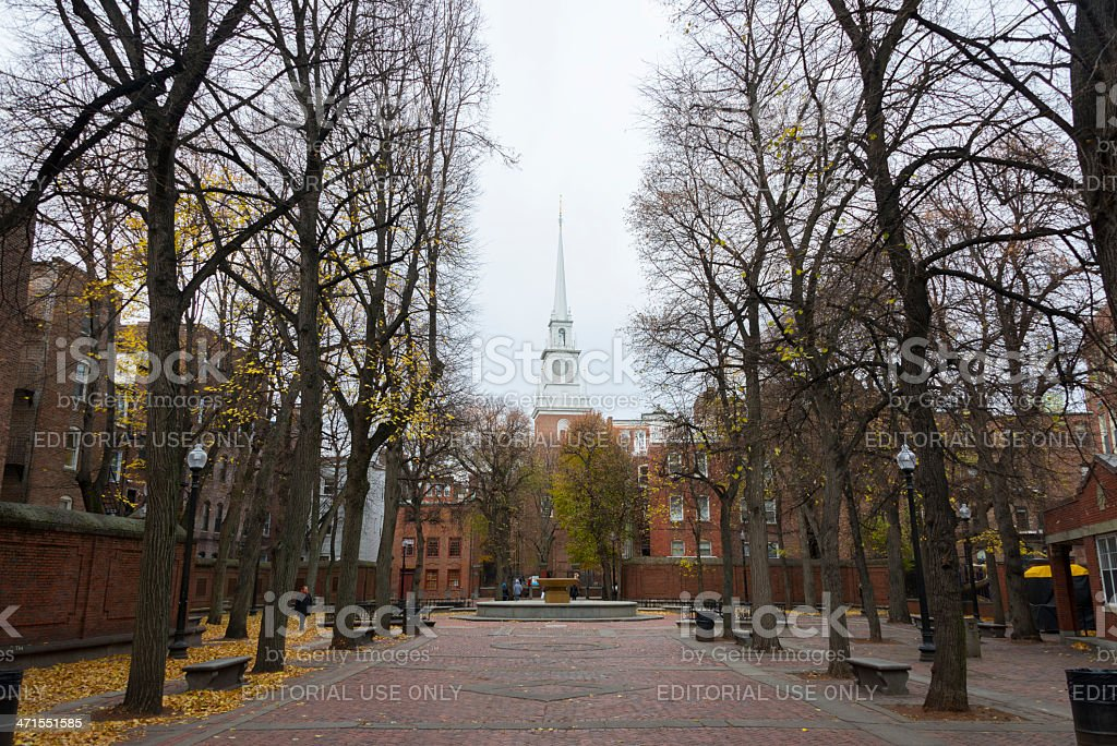 Path to Old North Church in Boston stock photo