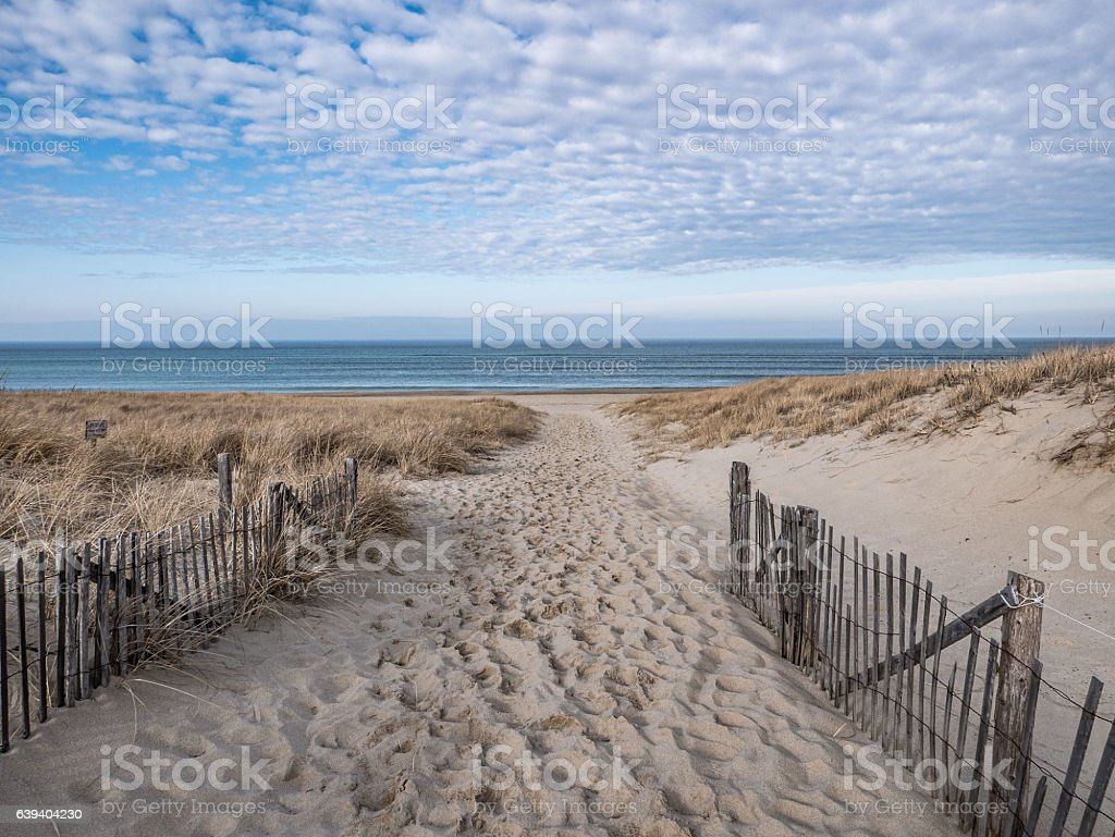 Path to the Atlantic Shore, Race Point, Provincetown stock photo