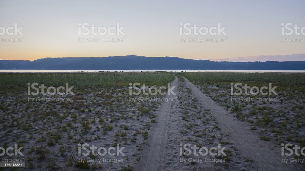 Path to the beach, Footpath, Road, Sand Dune, Lake, Sunrise royalty-free stock photo