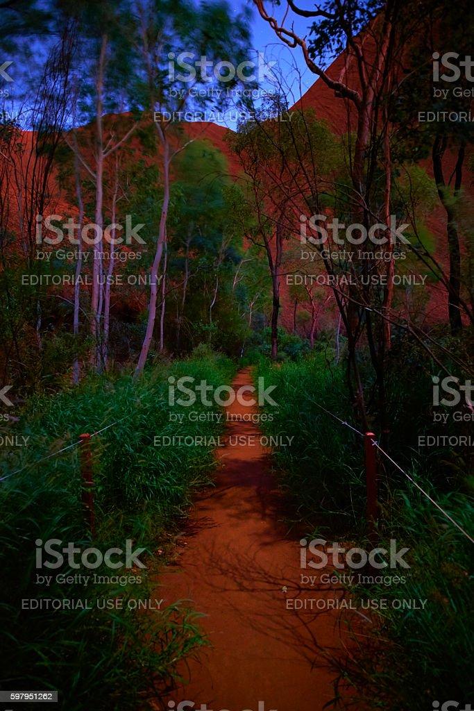Path To The Mutijulu Waterhole At Uluru stock photo
