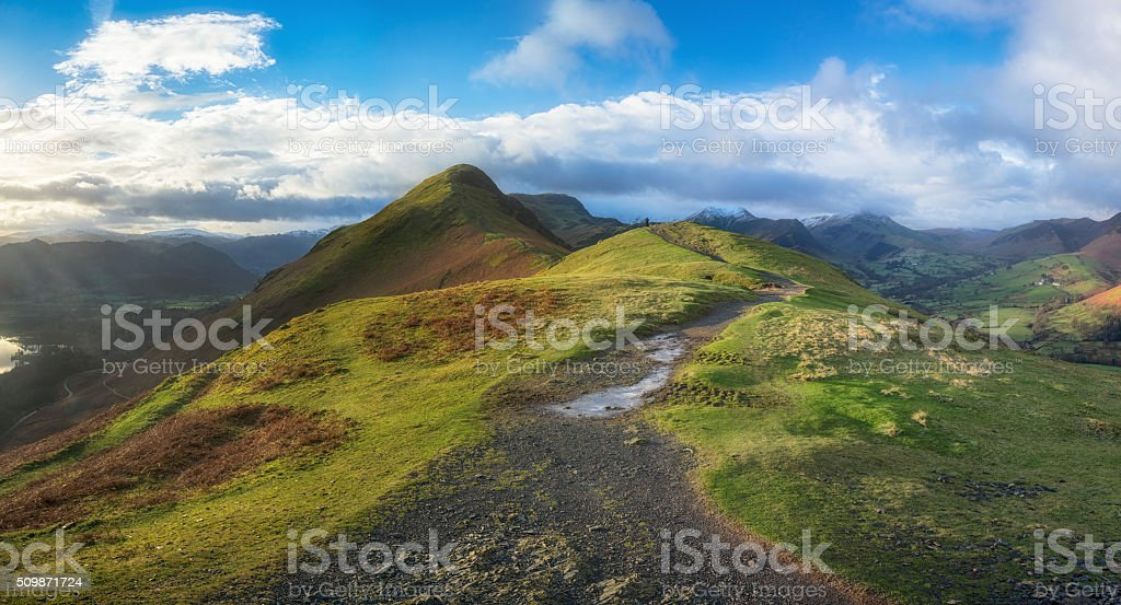 Path to the summit of Cat Bells, Lake District stock photo