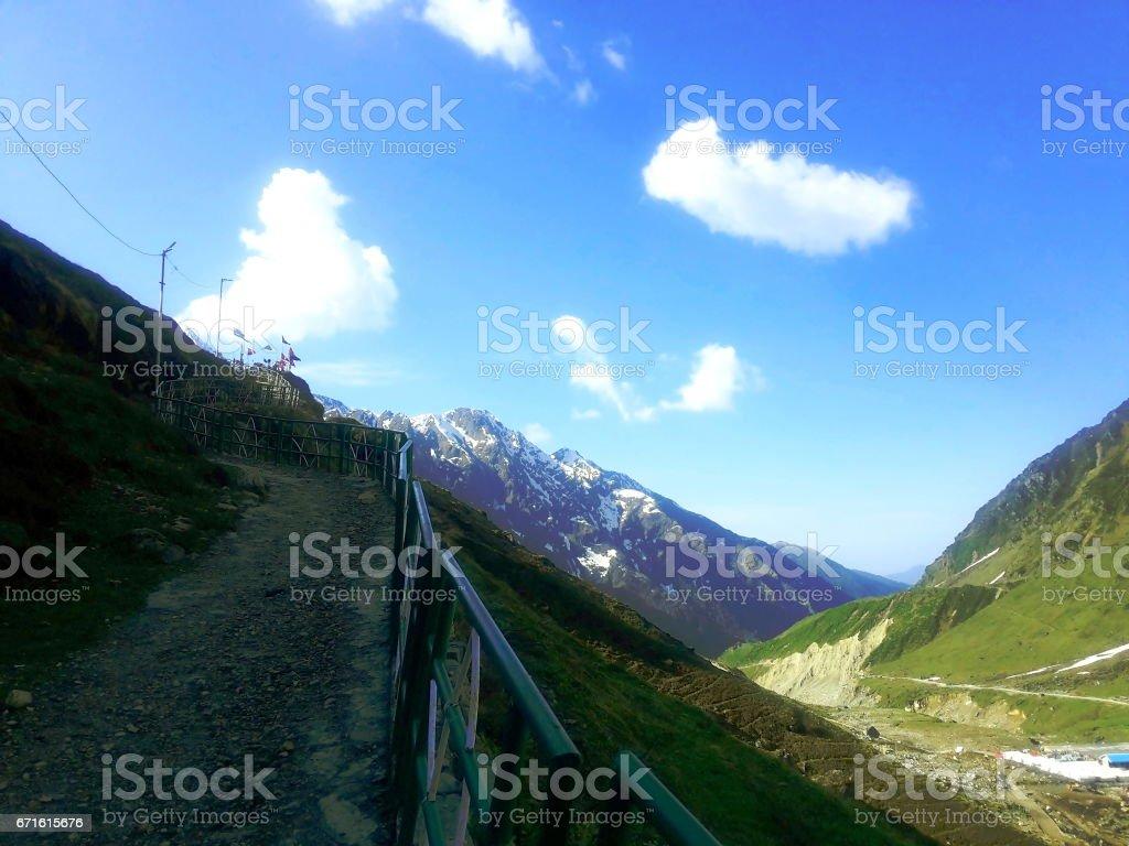 Path to walk in Himalayan Mountains stock photo
