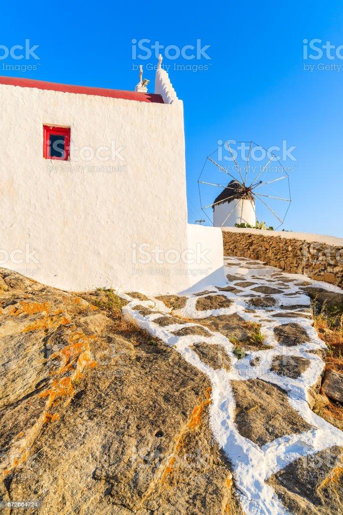 A path to windmill on island of Mykonos, Cyclades, Greece stock photo
