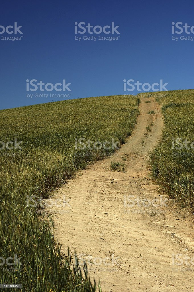 Path up a hill stock photo