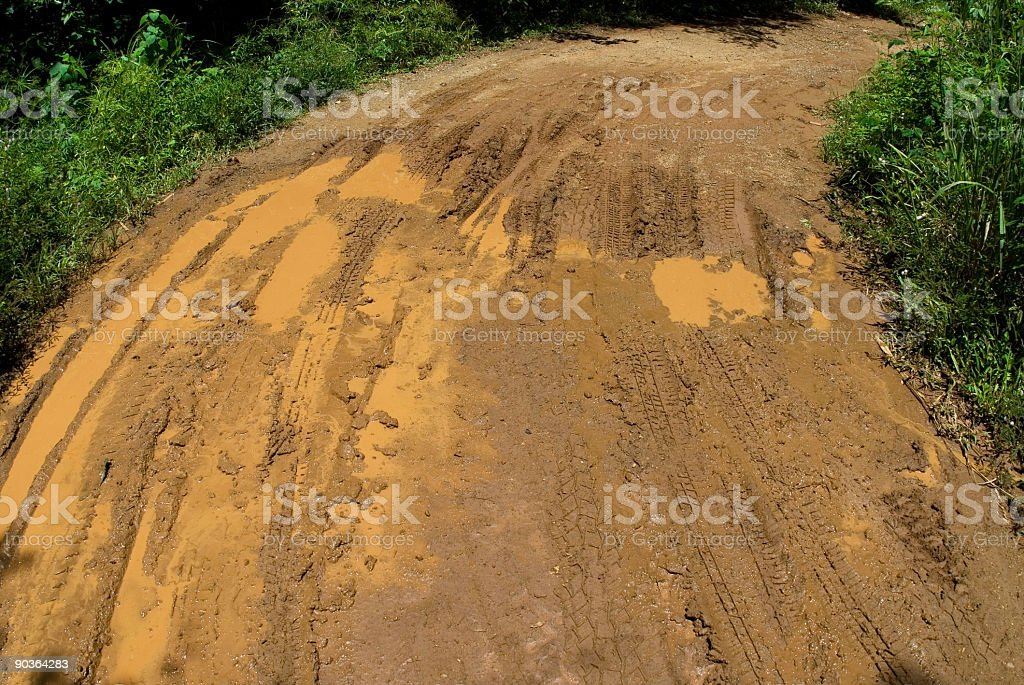 Path with mud after tropical rain royalty-free stock photo
