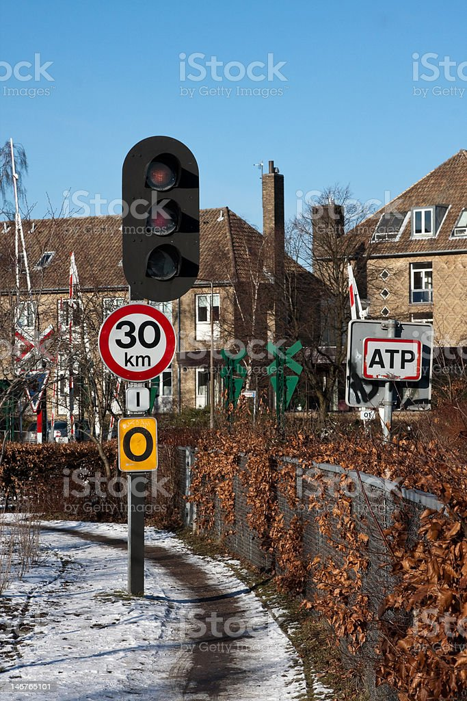 Path with train stop sign stock photo