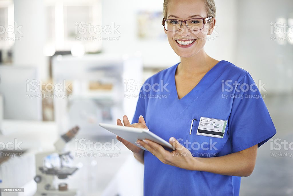 Pathology is her calling! stock photo