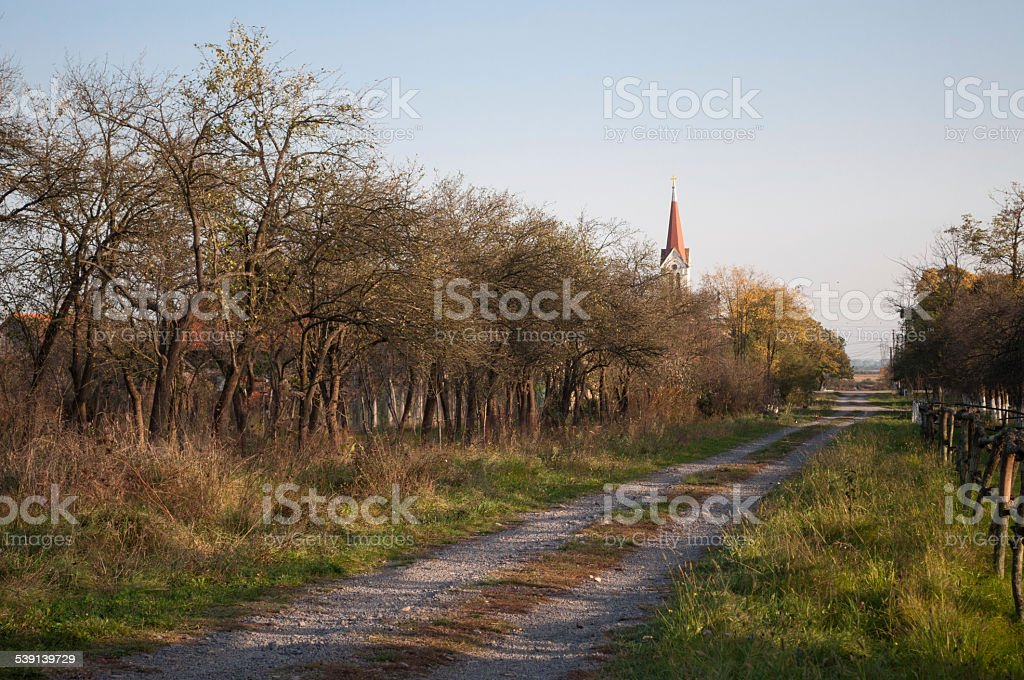 pathway along an orchard and a tower royalty-free stock photo